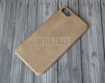 FREE SHIPPING - Personalized Beige iPhone 7 Ultra Slim Leather Case