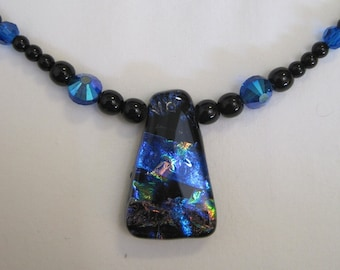Trapazoidal Multi-Layer Dichroic Glass Necklace - g0820n01