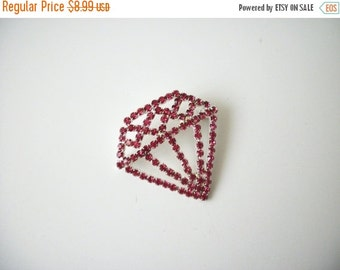 ON SALE Vintage Silver Pink Rhinestones Shield Pin 21017