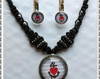 Macrame jewelry set anchor heart rockabilly necklace and Earrings * Necklace maintenance cabochon