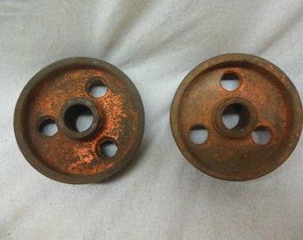 "Pair of 3.5"" Vintage Industrial Cast Iron Wheel Castors - Distressed Orange Patina Steam Punk"
