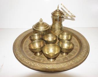 Vintage Brass Passover Seder Set, Jewish, Hebrew, Engraved, Serving, Holiday
