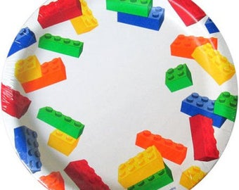 Lego ''Blocks'' Lunch Paper Plates 10ct