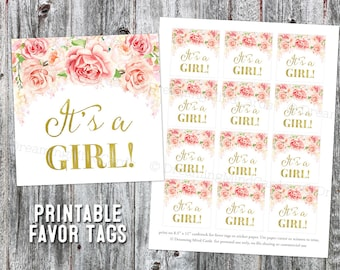 Printable It's a Girl Favor Tag Gold Light Blush Pink Vintage Watercolor Flowers for Baby Shower Instant Digital Download