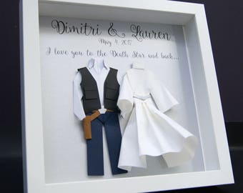 Personalized Wedding Anniversary Gift, Star Wars Theme, Hans Solo Princess Leia Paper Origami Bride & Groom Shadowbox Frame Wall Art Gift