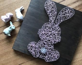Easter Bunny rabbit , baby, kids, room decor, string art