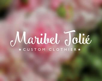 Premade Logo Tailor Clothier logo scripty fonthandwriting calligraphy handwritten editable help choose font change colors customer service