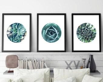 Succulent Prints, Printable, Art, Set of 3 Prints, Botanical Print Set, Botanical Prints, Minimalist Poster, Scandinavian Prints, Print Set