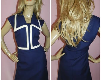 Vintage 50s 60s Navy/White Large Collar Nautical Mod Scooter dress 14-16 M/L 1950s 1960s Mad Men Pin up