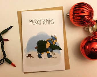 X-Men Christmas Card, X-Men Holiday Card, Wolverine Christmas Card, Wolverine Holiday Card, Funny Card, Humorous Card