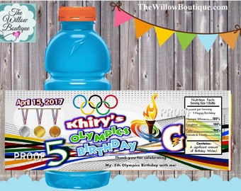 Personalized Olympic Birthday Gatorade Bottle Labels Personalized with your childs name etc.