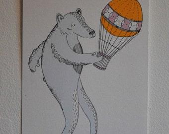 Bear and Hot Air Balloon Digital Print
