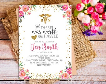 nurse graduation invitation, floral registered nurse invitation printable, gold floral pink invitation registered nurse, Printable Nurse