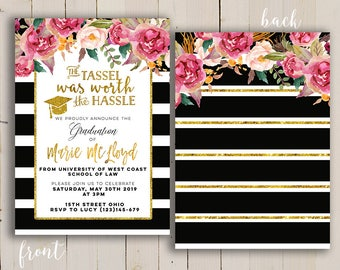 gold graduation invitation, the tassel graduation invite, High School Graduation, Tassel Was Worth The Hassel Graduation Invitation, black