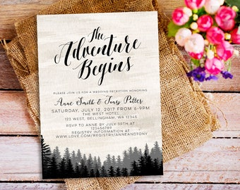 The Adventure Begins Wedding Invitation, Wanderlust Wedding Invitation, nature outdoor wedding, Rustic Wedding Invitation, adventure wedding