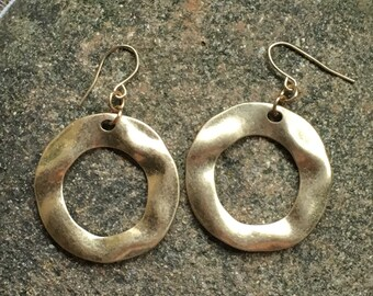 Reclaimed satin gold plated earrings