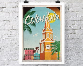 Vintage Travel Print: Colombia Wall Art
