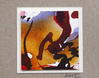 Miniature (53) watercolor, abstract art, individual gift, small thank you, picture, minibild, autumn colors, original,ink painting,quatratic
