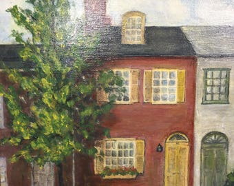 Vintage Oil Painting on Canvas Old Row Homes
