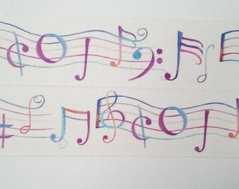 Design Washi tape music notes watercolor