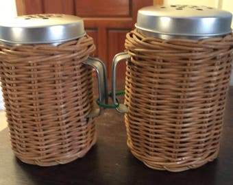 Vintage Pair of Wicker Shakers 1950s