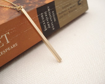 Gold vertical bar necklace...Long thin bar, Simple delicate, long layered drop, sorority, best friend gift, wedding, bridesmaid gift