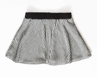 Baby Skater Skirt, Black and White, Striped Skirt, Baby Skirt, Toddler Skater Skirt, Cute Toddler Clothes, Twirl Skirt, Hipster Baby Clothes