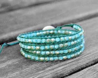 Wrap Bracelet Crystal Bracelet Cuff Bracelet 4mm Beaded Bracelet Girlfriend Gift For Her