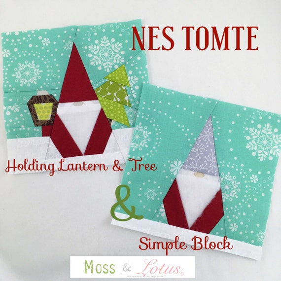 NES TOMTE Holding Lantern and Tree & Nes Tomte Simple Quilt Block // Foundational Paper Piecing // PDF // Instant Download // Nisse Gnome