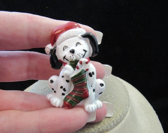Vintage Christmas Ceramic Dalmation Dog Pin
