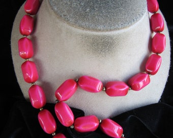Vintage Long Pink Beaded Necklace