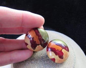 Vintage Pair Of Chunky Burgandy Orange & Green Wooden Clip Earrings