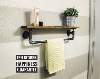 Organic wood + pipe towel rack ⋆ industrial towel rack shelf ⋆ bathroom towel rack⋆industrial bathroom towel shelf⋆towel bar⋆towel rack