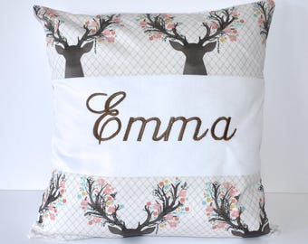 Personalized Pillow , going stag, tulip, deer, dear head, buck, baby girl, woodland nursery