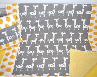 Giraffes Patchwork Blanket - yellow and grey, safari theme, nursery
