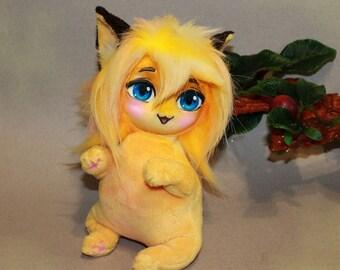 Yellow Chibi Neko Girl, soft toy, toys handmade