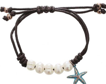 Freshwater Pearl Pull Cord Bracelet With Starfish Charm