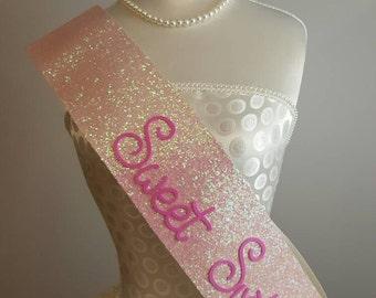 Sweet 16 Sash - Sweet Sixteen Sashes - Pink glitter - Handmade 16th birthday photo props