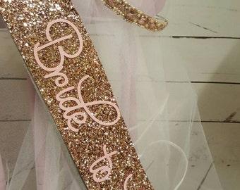 GOLD Glitter Bride To Be Bridal Shower Sash Theme Beaded