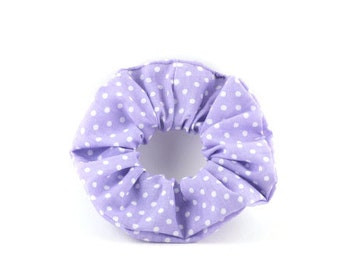 Scrunchie - purple and white polka dots