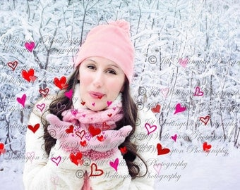 DIGITAL Blowing Hearts PNG Overlay for photography, photographers, photos