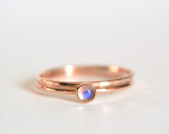 Set of Two 14k Solid ROSE Gold Moonstone Ring, Rose Gold Moonstone Ring, Moonstone Ring Rose Gold, Pink Gold Hammered, Stacking Ring