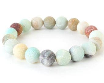 Natural Stone Stretch Bracelet in Mint