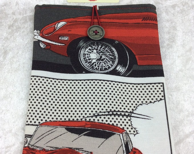 E-Type Jaguar Small Tablet Case fabric cover pouch handmade in England