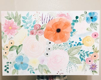 Extra Large Floral Watercolor Painting