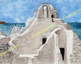Download -Mykonos-watercolor painting-Greek landscape-marine