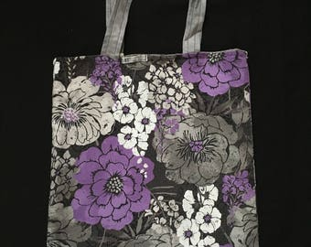 Purple and grey flowers reversible tote