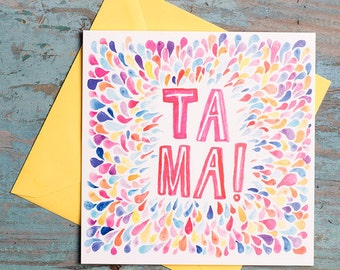 TA MA! Mother's Day Card, Thank you Card, For mum, Mother, Greetings Card, Humour, Typography, Illustration, Art