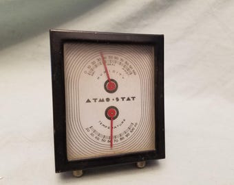 Antique 1930s Art deco Atmo stat Temperature Humidity Thermometer Great shape WORKS