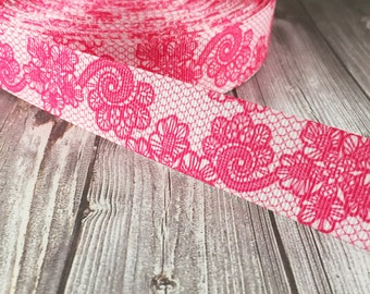 Pink wedding ribbon - Pink lace look - Fancy printed ribbon - Wedding grosgrain ribbon - Vintage look - Popular wedding ribbon - Grosgrain